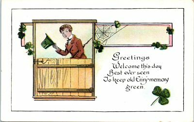 Lot of 2 St. Patrick's Day Postcards Boy and Girl Clovers Shamrock Poems Unused