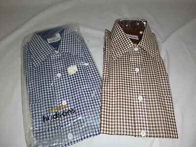 Pr Vtg Mens Gingham Check Short Sleeve Button Front Shirts Hudsons Cadre Sz 15