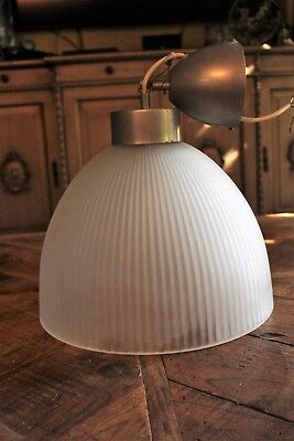 Vintage Pendant Ceiling Lighting Fixture, Milk Glass Art Deco Texture Chandelier