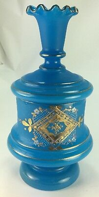 Antique French Blue Opaline Glass Covered Candy Dish  Gilt and Enameled