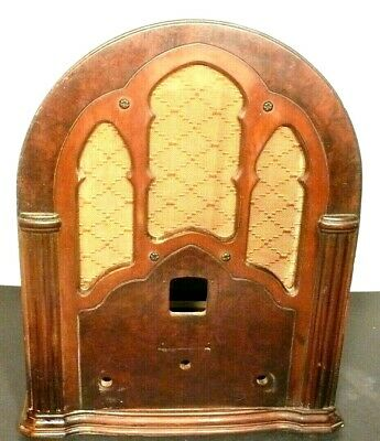 """vintage RCA SUPERETTE R-4  CATHEDRAL:  WOOD SHELL & GRILL CLOTH 17"""" x 14 x 9&1/2"""