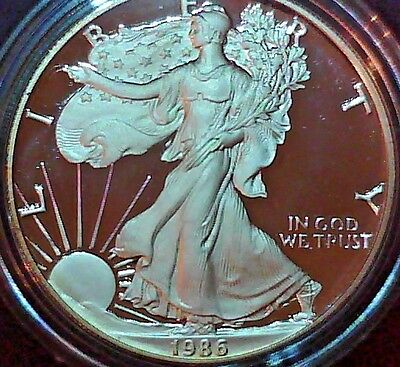 1986-S American Silver Eagle Proof with Box and COA
