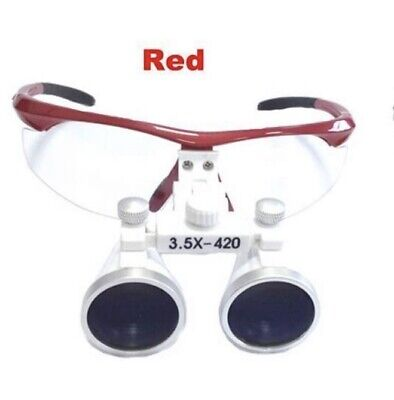 Zgood 3.5X LED Dental Loupe Surgical Binocular Loupes 420MM (Red)