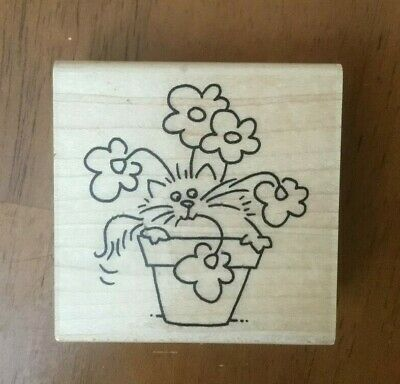 Stampendous Posey Fluffles Cat Stamp Potted Flowers