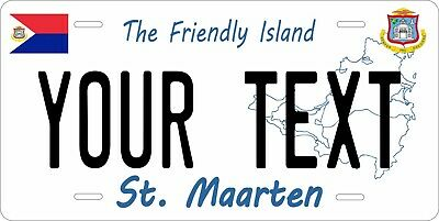 St Maarten White License Plate Personalized Car Auto Bike Motorcycle Custom Tag