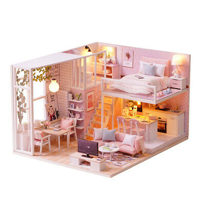 DIY Wooden Toy Doll House Miniature Kit Holiday Dollhouse LED Lights Pink Gifts
