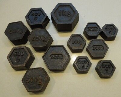 Vintage Hexagonal Cast Iron Weights - 13 In Total