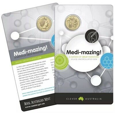 💰2014 AUSTRALIA $1 DOLLAR: MEDI-MAZING A NATION OF GREAT INVENTORS Coin on Card
