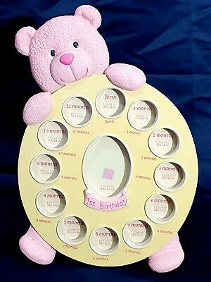 Baby's First Year Photo Frame Pink Teddy Bear Girl Gift by RUSS baby memorable