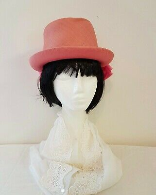 Vintage 70s PINK Straw Chiffon Bow Decorated High Top Day Dress Occasion HAT