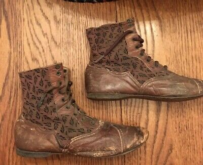 Antique Victorian Leather And Silk Child Shoes/Boots