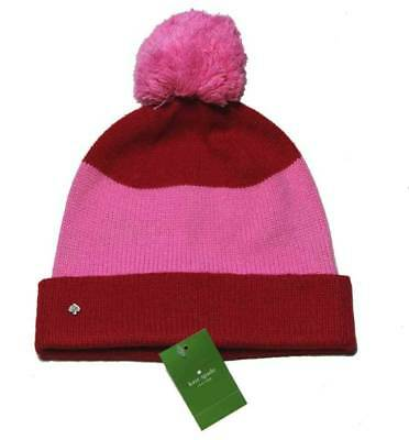 6b009a82bab59 WOMEN S KATE SPADE Winter Hat Color Block Beanie Pink Red OS ...