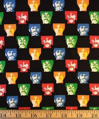 The Beatles Faces Heads Cotton Fabric By the Yard OOP BTY Quilt Black Squares