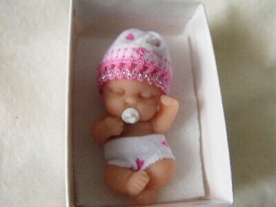 OOAK  dollhouse miniature   5 cm polymer  clay  pink baby   doll by Harry
