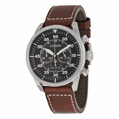 *BRAND NEW* Citizen Men's Eco-Drive Brown Leather  Steel Watch CA4210-24E