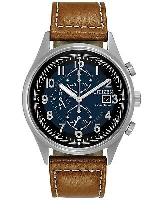 *BRAND NEW* Citizen Men's Eco-Drive Brown Leather Steel Case Watch CA0621-05L