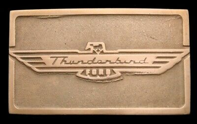 QH28127 *NOS* NICE EARLY 1970s UB **THUNDERBIRD** LOGO FORD SOLID BRONZE BUCKLE