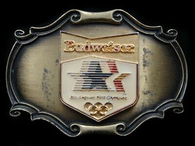 Rl03128 Vintage 1984 **Budweiser Los Angeles Olympics** Sports Belt Buckle