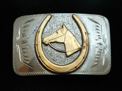 PD23148 VINTAGE 1970s **HORSE & HORSESHOE** ENGRAVED TROPHY STYLE BELT BUCKLE