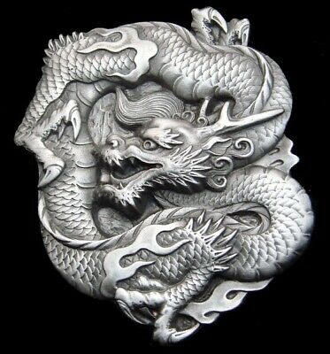 Rg24101 *Nos* Vintage 1984 **Chinese Dragon** Fantasy Art Pewter Belt Buckle