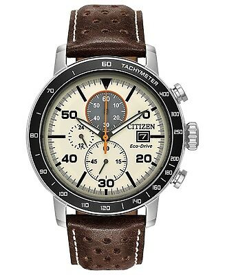 *BRAND NEW* Citizen Men's Eco-Drive Brown Leather  Steel Case Watch CA0649-06X