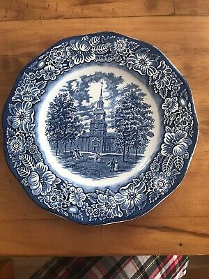 Vintage Staffordshire Liberty Blue China Dinner Plate Independence Hall