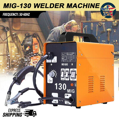 MIG 130 Welder Flux Core Automatic Feed Wire Free Welding Machine W/ Mask New A+