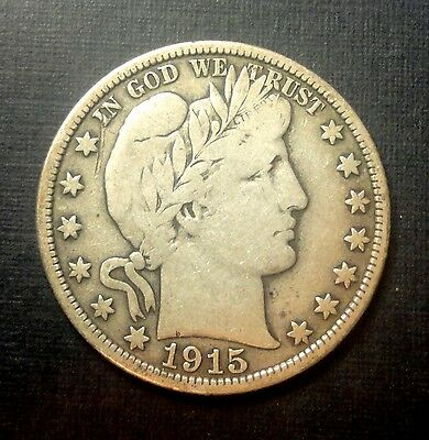 """1915 D 50C Barber Half Circulated 90% Silver US Coin #207A  """"TUCK"""" F/VF LOW MINT"""