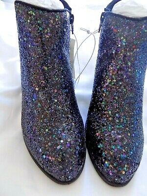 9503d227aea7 Stevies Target Girls Black Ankle Boots Fashion Booties Glitter Shoes Size 4  New