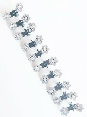 LIGHT PEACH 12PCS PEARL RHINESTONE FLOWER MINI HAIR CLIP CLAMPS WEDDING VA237-9B