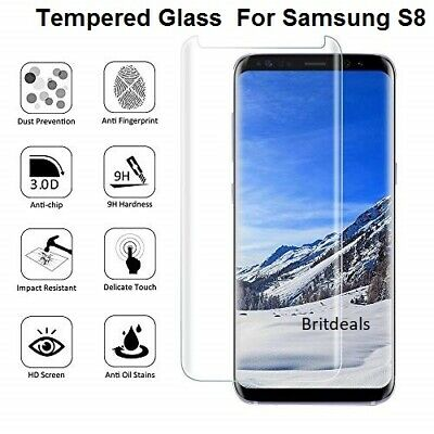 For Samsung Galaxy S8 -100% Full Curved Tempered Glass LCD Screen Protector