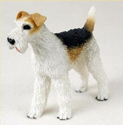 WIRE FOX TERRIER DOG Figurine Statue Hand Painted Resin Gift