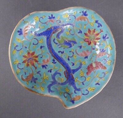 19th/20th Century Chinese Porcelain Famille Rose Blue Ground Footed Dish Signed
