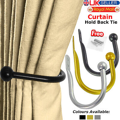 Large Stylish Curtain Hold Back Metal Tie Tassel Arm Hook Loop Holder U Shaped