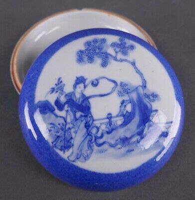 19th Century Chinese Porcelain Blue and White Seal Box Signed