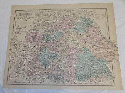 1870's Antique COLOR Map///GERMANY (Sheets 3 & 4), Published by Gray in Gray's A