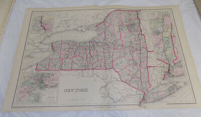 """1876 Antique COLOR Map///NEW YORK, Published by Gray, Size about 17x27"""""""
