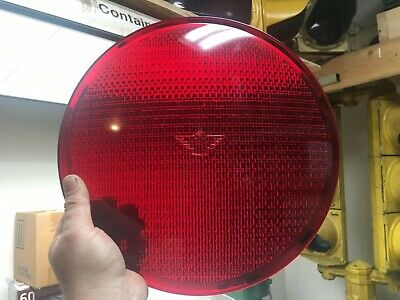 "Eagle Signal 12"" Flatback Alusig Thunderbird Glass Traffic Stop Light Lens Red"
