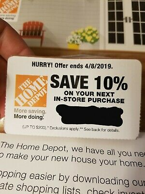 10% OFF Home Depot Coupon - Instore ONLY Save up to $200 - expires 4/8/2019