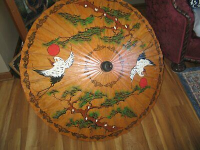 Parasol/Vintage Umbrella/Painted Laquered Rice Paper/Asian Costume Japanese Chin