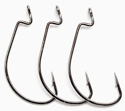Lot 50pcs High Carbon Steel Worm Hook Jig Big Fishing Hooks Black Treble 6#-5/0