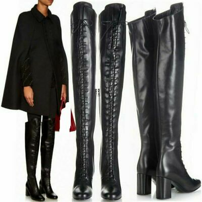 Women Thigh High Boots Over the Knee Lace Up Mid Chunky Heel Warm Long Boot Punk