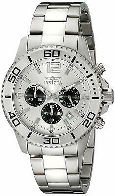 Invicta Men's 17395 Pro Diver Chronograph 45mm Silver Dial Stainless Steel Watch