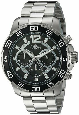 Invicta Men's 22712 Pro Diver Chronograph 45mm Black Dial Steel-Tone Watch