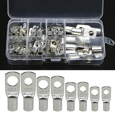 60Pcs Tinned Copper Lug Ring Terminals Kit Battery Wire Welding Cable Connectors