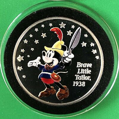 2003 Disney Mickey Mouse Brave Little Tailor 1 Troy Oz .999 Fine Silver Coin 999