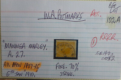 Old West Australia Postmark On Swan Stamp Maninga Marley