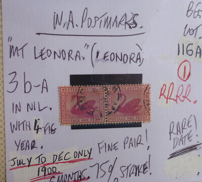 OLD WEST AUSTRALIA POSTMARK ON SWAN STAMP Mt LEONDRA 1900