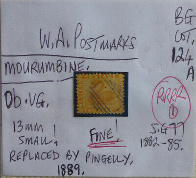 OLD WEST AUSTRALIA POSTMARK ON SWAN STAMP MOURUMBINE ON 2d
