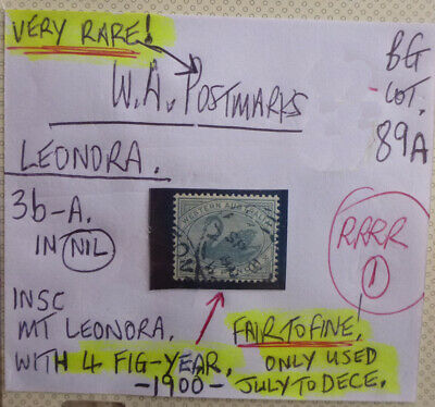 Old West Australia Postmark On Swan Stamp Leondra 1900